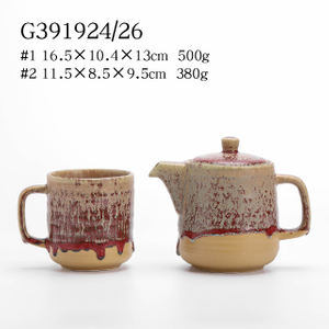 S/2 Stoneware Reactive Mug And Teapot Set