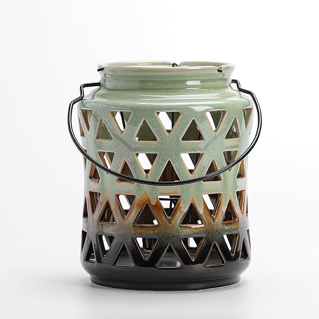 Ceramic Tabletop Lantern With Metal Handle