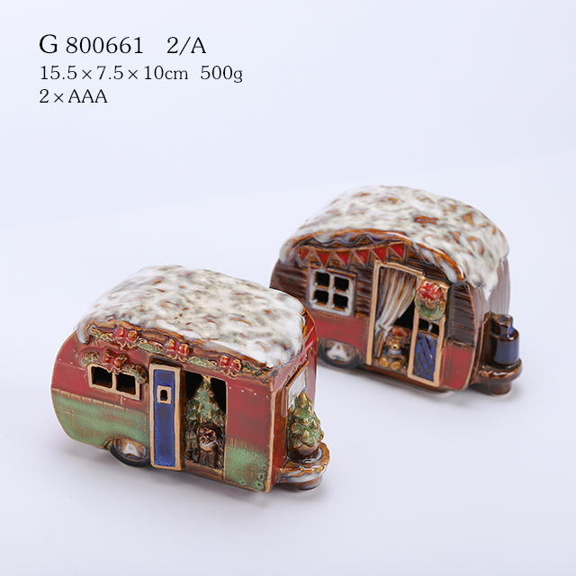 2/A Lighted Reactive glazed Vintage Holiday Vehicle with Christmas Tree - Tabletop Holiday Decoration (car)