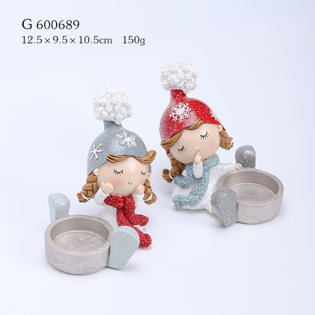 2/A Polyresin Girl Sitting with Candle Holder