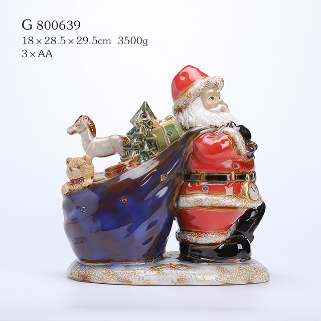Porcelain Santa with Gift Sack And Led Light Multi Glazed Finish