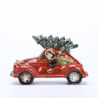 Lighted Reactive glazed Vintage Holiday Vehicle with Christmas Tree - Tabletop Holiday Decoration (car)