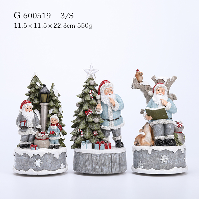 3/A Polyresin Santa With Tree Music Box