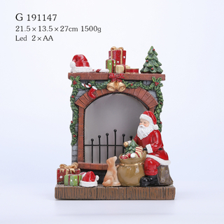 POLY FIREPLACE WITH SANTA WITH LED LIGHT