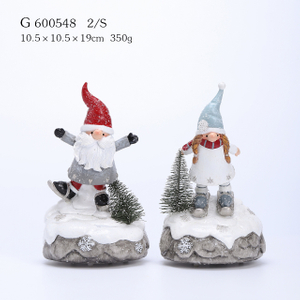 2/A Polyresin Santa And Snowman