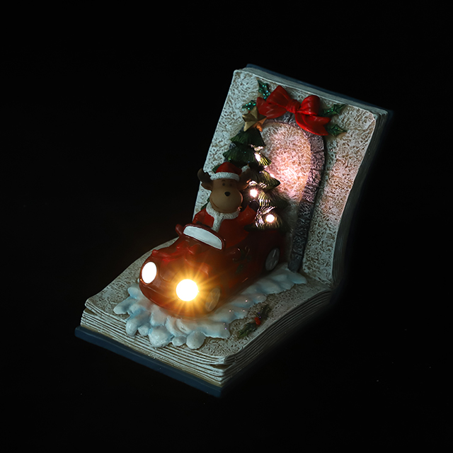 Polyresin Deer Drive Car with Xmas Tree Ornament with LED in The Book